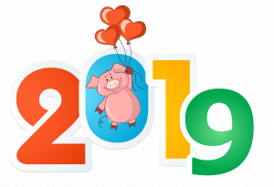 nadpis 2019 so svinkoy na sharikah